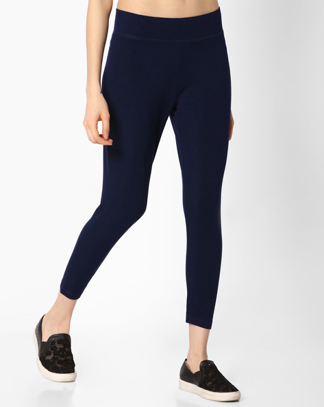 Ankle-Length Leggings With Elasticated Waist By CODE By Lifestyle ( Navy )