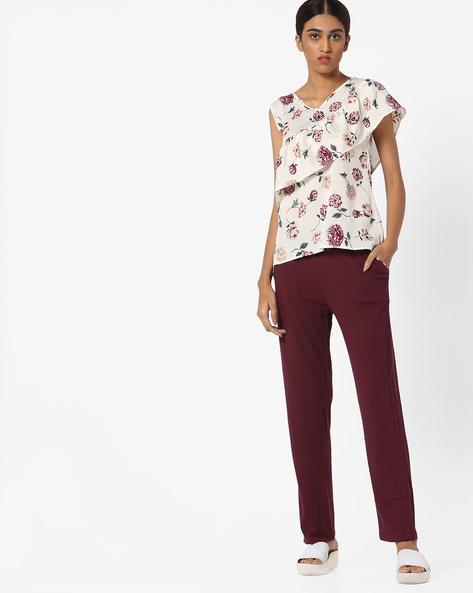 Printed Top With Pyjama Set By Clovia ( White )