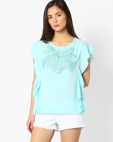 Top With Cord Embroidery By FIG ( Ltblue )
