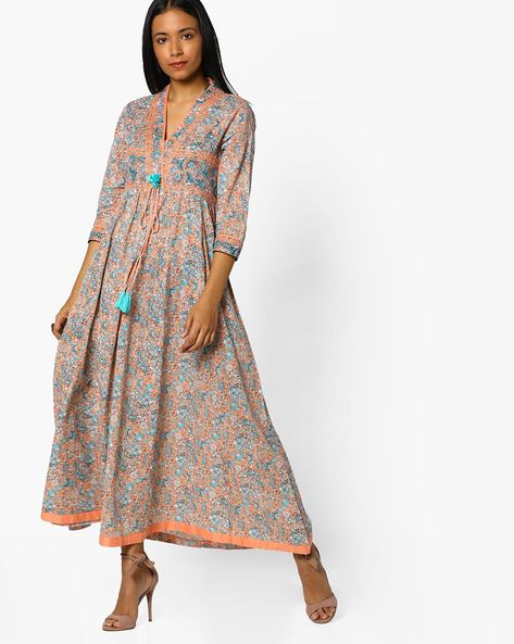 Floral Print Kurta With Tie-Up By Melange By Lifestyle ( Peach )