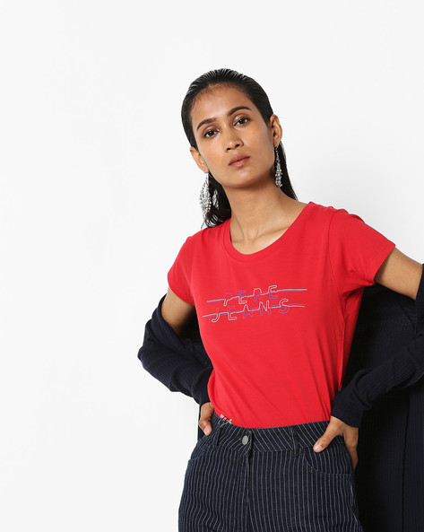 Printed Crew-Neck Cotton T-shirt By Pepe Jeans ( Red )