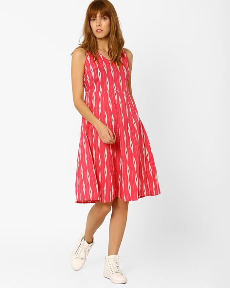 Printed A-line Dress By AJIO ( Pink )