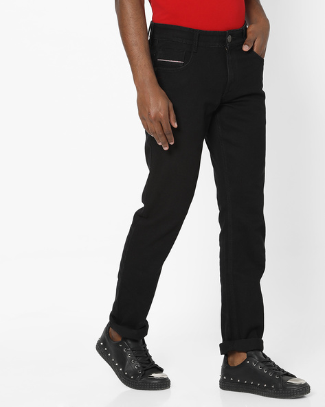 Mid-Rise Jeans With 5-Pocket Styling By JOHN PLAYERS ( Black )