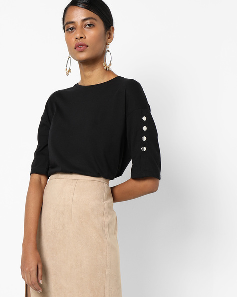 Knitted Cotton Top With Button Accents By AJIO ( Black )