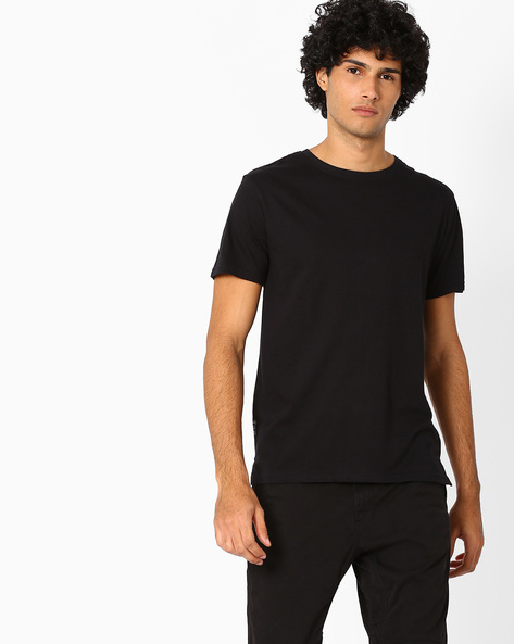 Cotton Slim Fit T-shirt By Blue Saint ( Black )