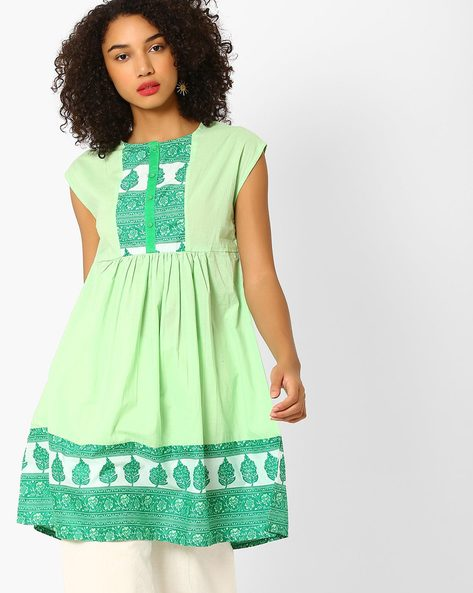 Printed Kurta With Contrast Placket By AJIO ( Mint )