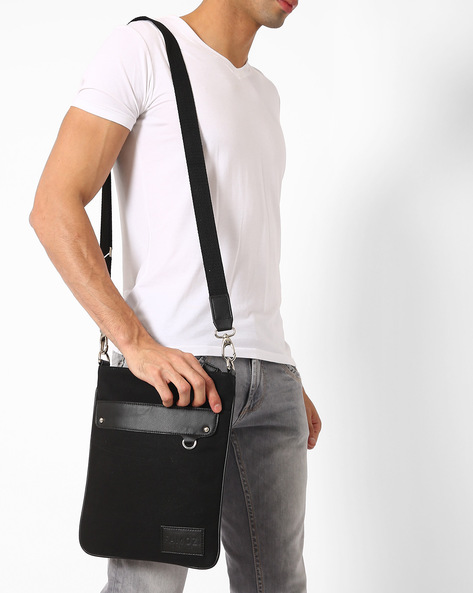 Messenger Bag With Front Flap By FAMOZI ( Black )