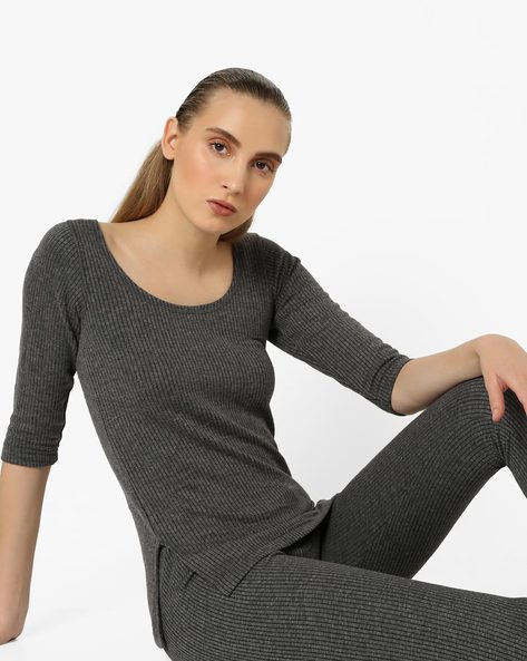 Scoop-Neck Thermal Top By HANES ( Greymelange )