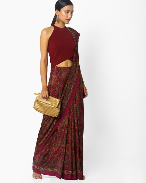 Printed Saree With Contrast Border By Majestic Silk ( Maroon )