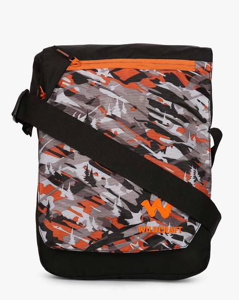 Camouflage Print Water-Resistant Messenger Bag By Wildcraft ( Orange )