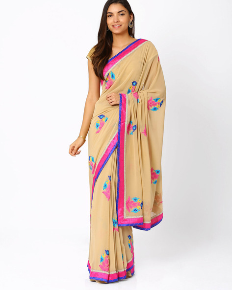 Embroidered Georgette Saree By Vishal Prints ( Brown )
