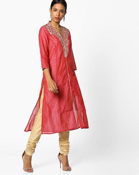 Printed Straight Kurta With Embroidery By Melange By Lifestyle ( Fuschia )
