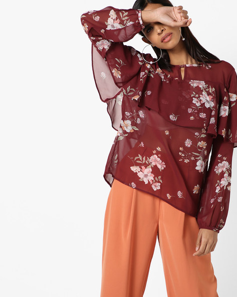 Floral Print Semi-Sheer Top By Oxolloxo ( Maroon )
