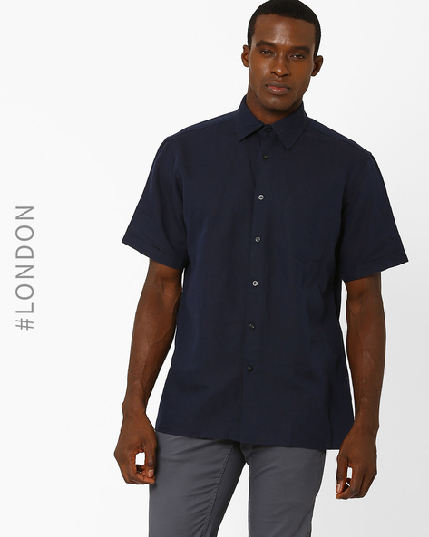 Linen Shirt With Short Sleeves By Marks & Spencer ( Navy )