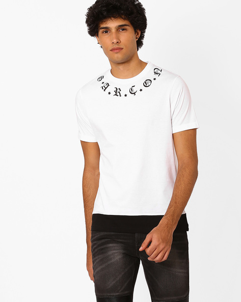Crew-Neck T-shirt With Placement Print By Garcon ( White )
