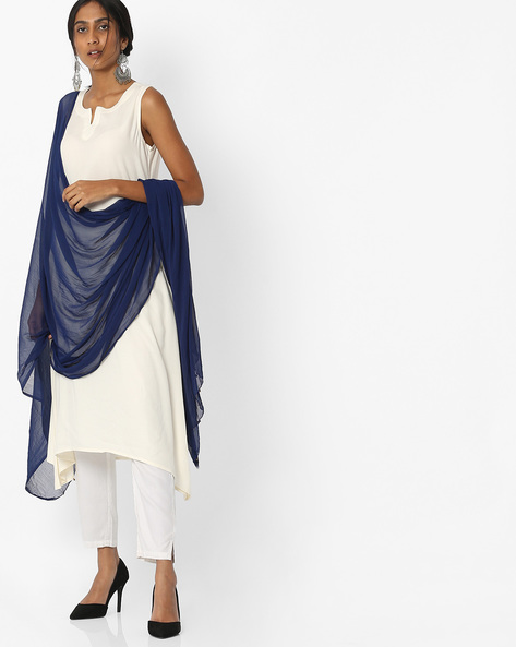Chanderi Dupatta With Embellishments By Melange By Lifestyle ( Navy )