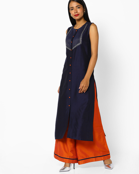 Straight Kurta With Front Button Placket By AJIO ( Navy )