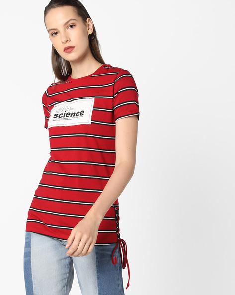 Crew-Neck Striped T-shirt By AJIO ( Maroon )