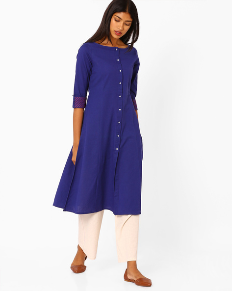 Straight Kurta With Full Button Placket By AJIO ( Indigo )