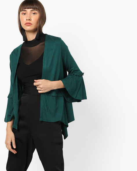 Open-Front Shrug With Bell Sleeves By AJIO ( Darkgreen )