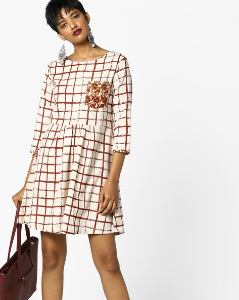 Checked Fit & Flare Dress With Floral Print Pocket By AJIO ( Rust )