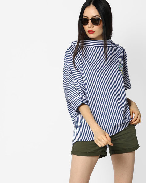 Striped High-Low Shirt With Applique By Evah London ( Navyblue )