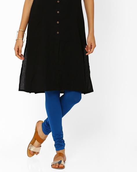 Stretch Churidar Leggings By AJIO ( Blue )