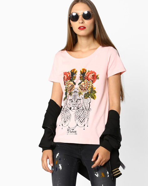 Printed Crew-Neck T-shirt By AJIO ( Pink )