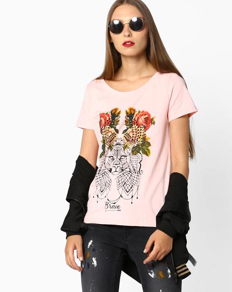 Printed Crew-Neck T-shirt By AJIO ( Pink )