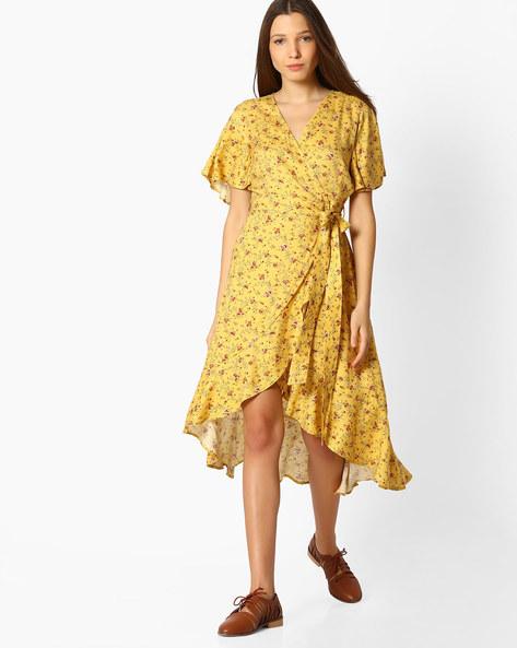 Floral Print Wrap Dress By Femella ( Yellow )