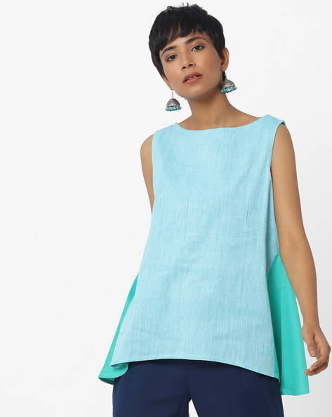 Textured Sleeveless Top With Contrast Panels By Indusdiva ( Green )