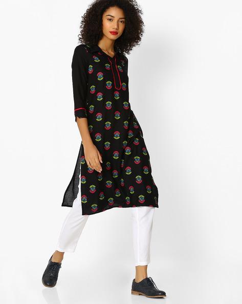 Straight Kurta With Shirt Collar By Aaboli ( Black )