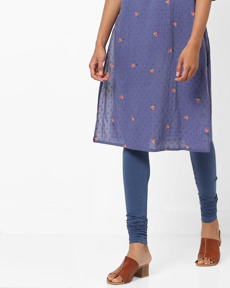 High-Rise Knitted Churidar Leggings By AJIO ( Navy )