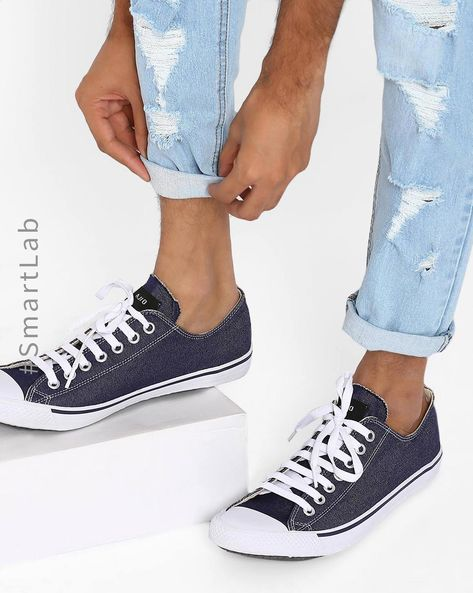 N9-Treated Classic Canvas Sneakers By AJIO ( Navy )