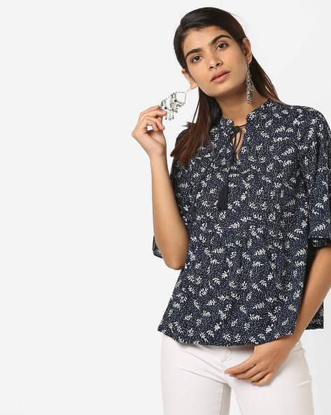 Floral Print Top With Tasselled Tie-Up By AJIO ( Navy )