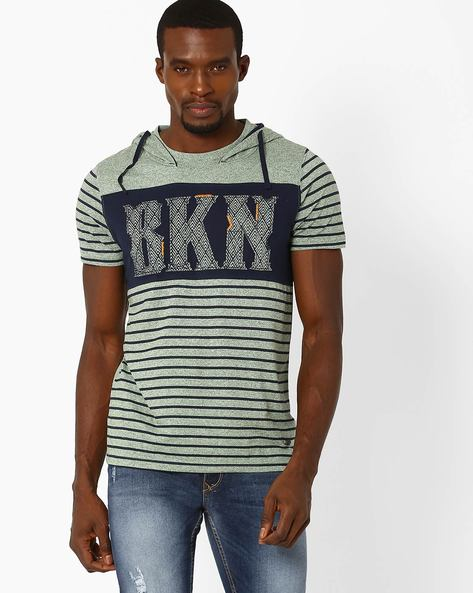 Slim Fit T-shirt With Hood By DNM X ( Green )