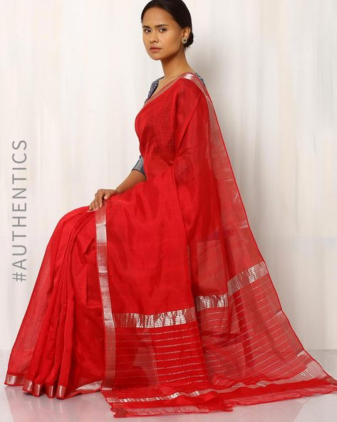 Handloom Mangalgiri Cotton Silk Saree By Indie Picks ( Purple )