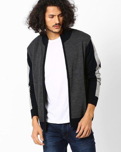 Colourblock High-Neck Sweater By AJIO ( Navy )