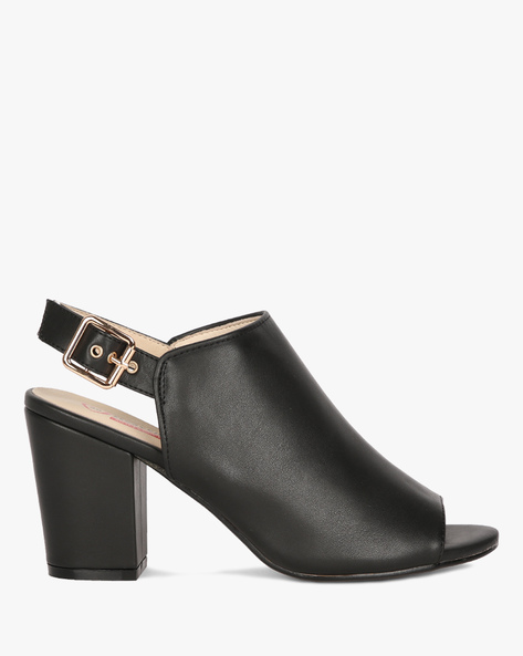 Slingback Mules With Chunky Heels By Heavenly Feet ( Black )
