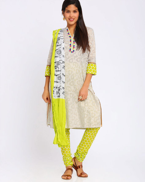Printed Churidar Kurta With Dupatta By Trishaa By Pantaloons ( Limegreen )