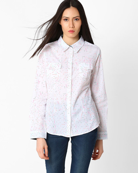 Printed Shirt With Flap Pockets By DNM X ( White )