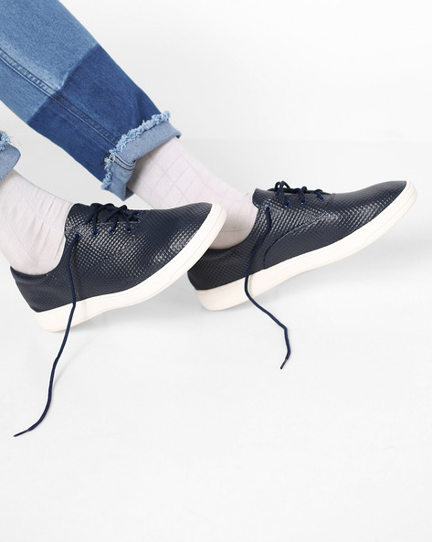 Sneakers With Textured Upper By AJIO ( Navy )