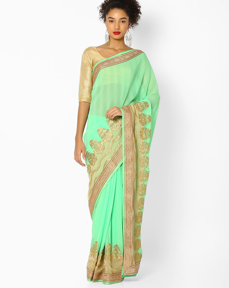 Sequin-Studded Saree With Embroidery By Majestic Silk ( Green )