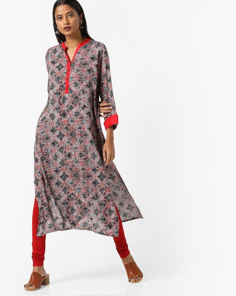 Printed Kurta With Mock Button Placket By Shree ( Grey )