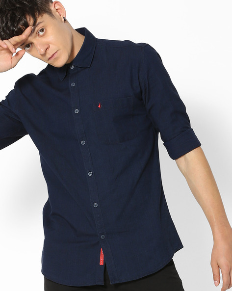 Slim Fit Shirt With Patch Pocket By British Club ( Navyblue )