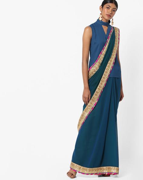 Chiffon Saree With Embroidered Border By Vastrangi ( Blue )