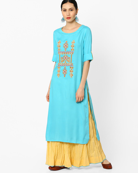 Embroidered Kurta With Skirt By AJIO ( Blue )