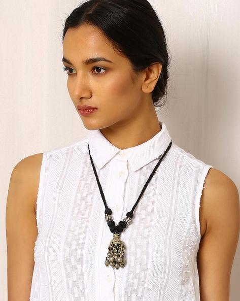 Afghani Tribal Pendant Necklace By Sabala Handicrafts ( Black )
