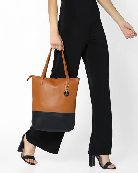 Panelled Tote Bag By FUR JADEN ( Tan )