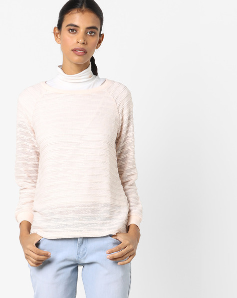 Knitted Pullover With Ribbed Hems By Fame Forever By Lifestyle ( Pink )
